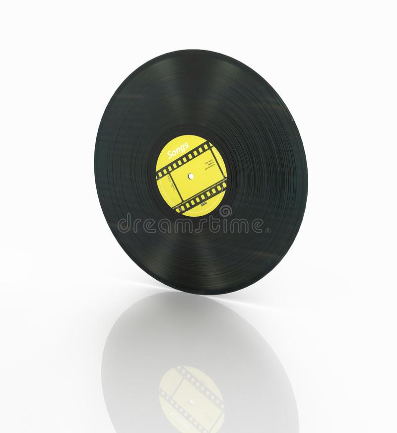 Vinyl record retro sound isolated on white background with reflection 3d stock illustration
