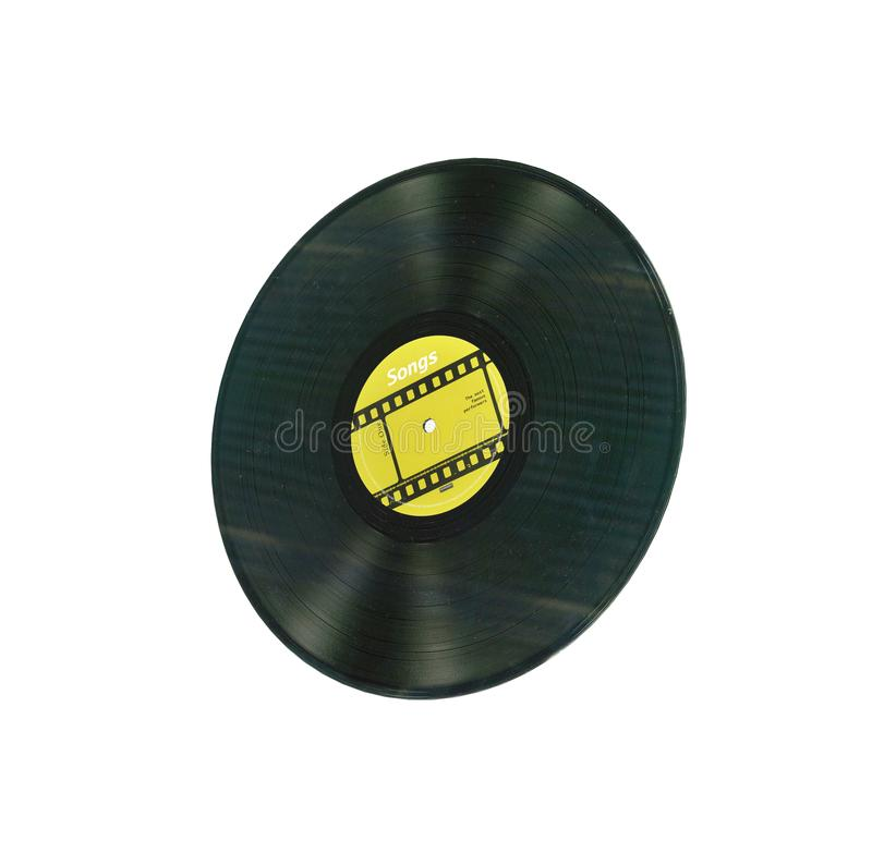 Vinyl record retro sound without shadow on white background 3d royalty free illustration