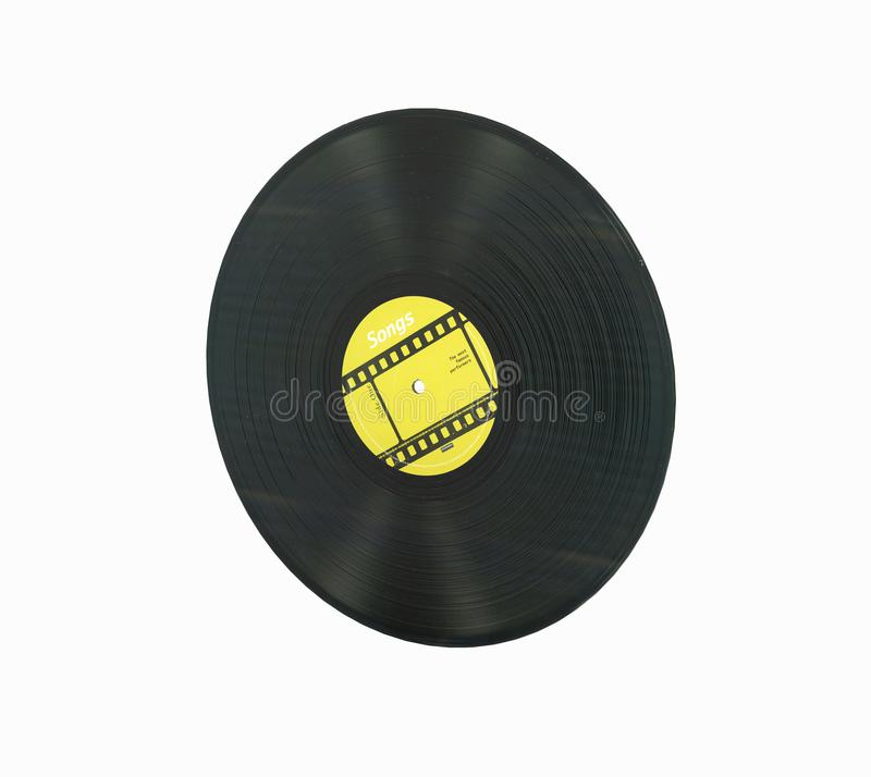 Vinyl record retro sound without shadow on white background 3d vector illustration
