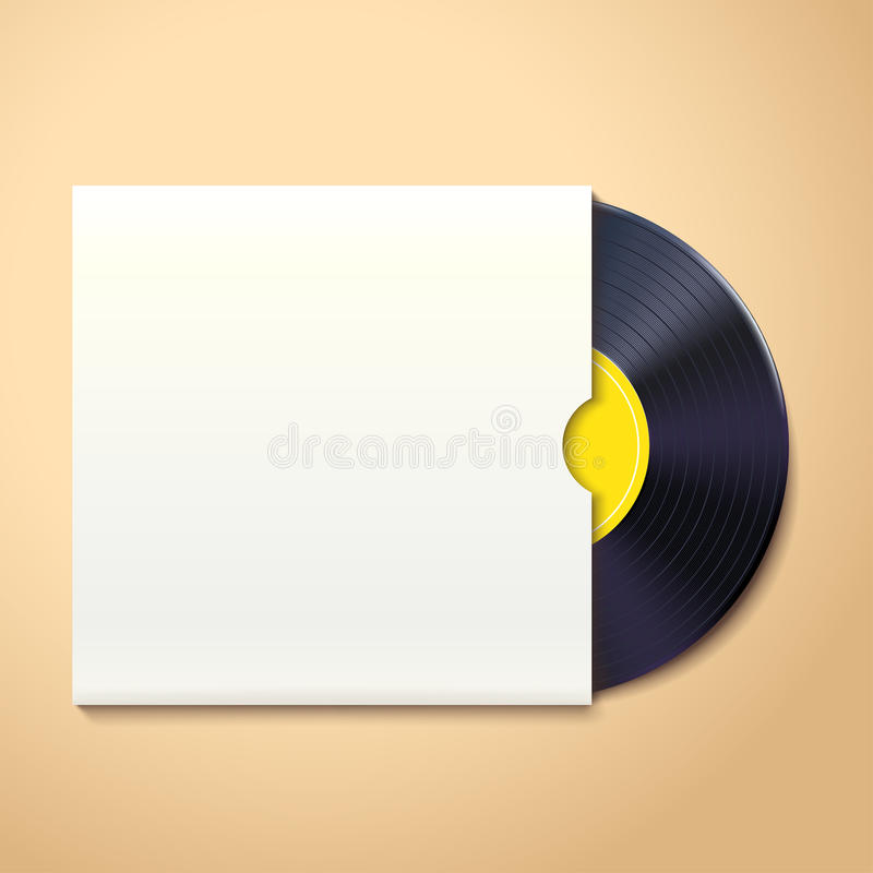 Vinyl record with shadow. Illustration of vinyl record with white pack on briht background with shadow vector illustration