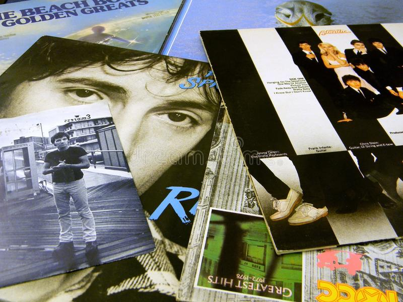 Vinyl record sleeves Springsteen stock images