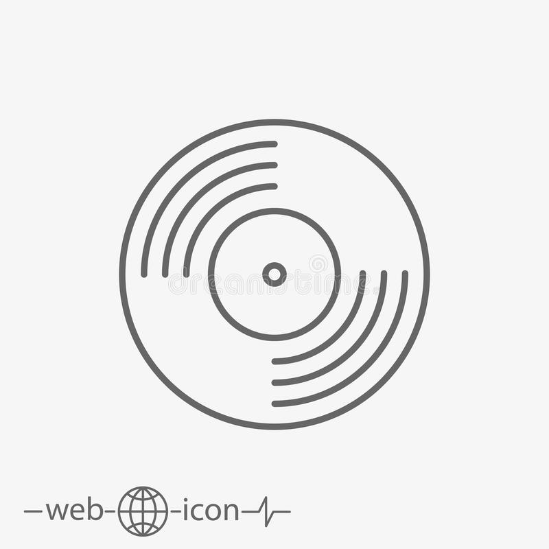 Vinyl record vector icon. On white background vector illustration