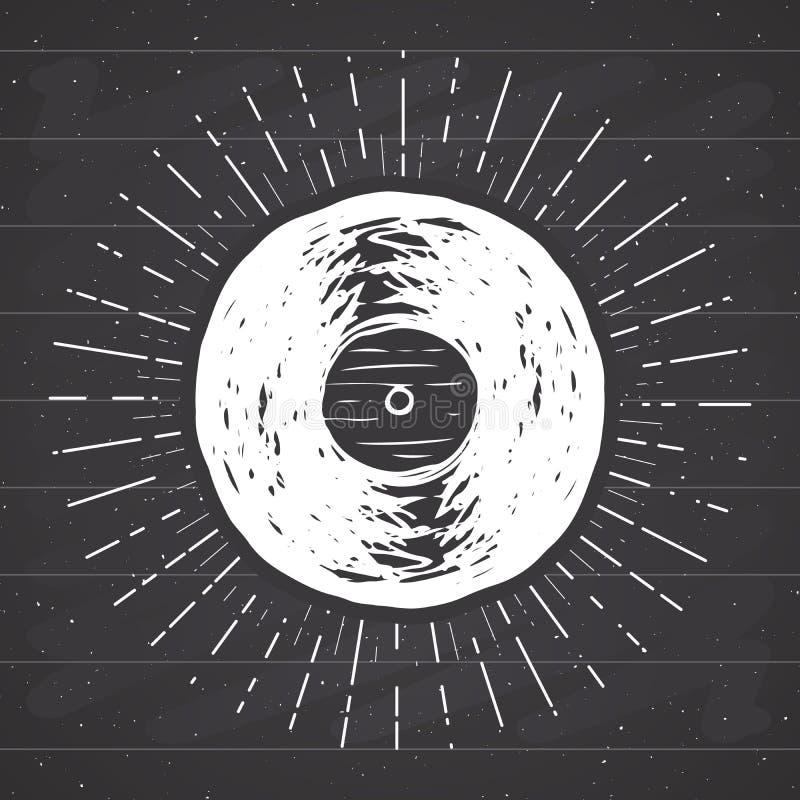Vinyl record vintage label, Hand drawn sketch, grunge textured retro badge. Typography design t-shirt print, vector illustration on chalkboard background royalty free illustration