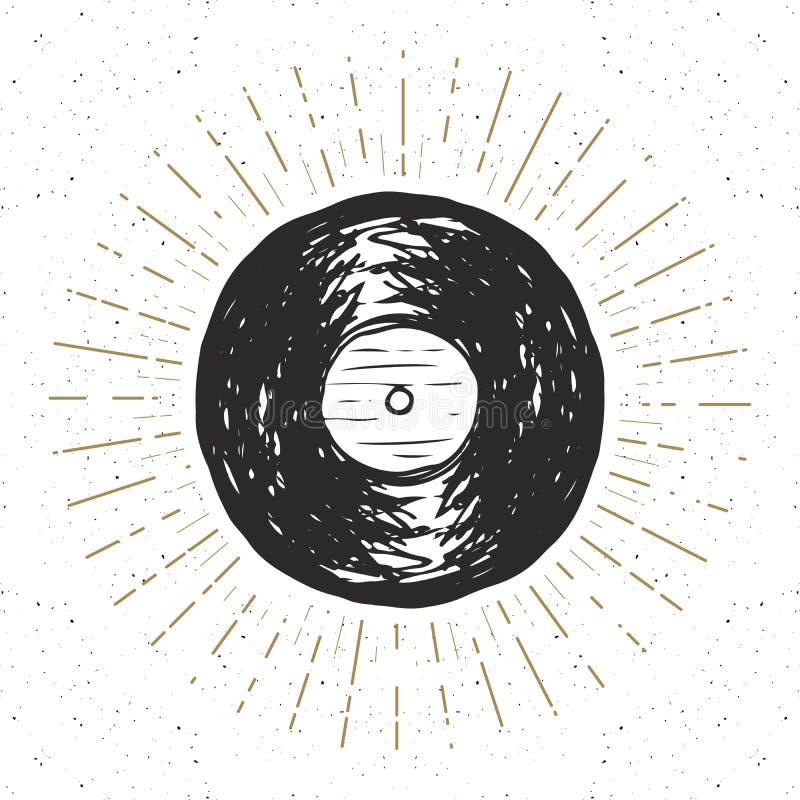 Vinyl record vintage label, Hand drawn sketch, grunge textured retro badge. Typography design t-shirt print, vector illustration stock illustration