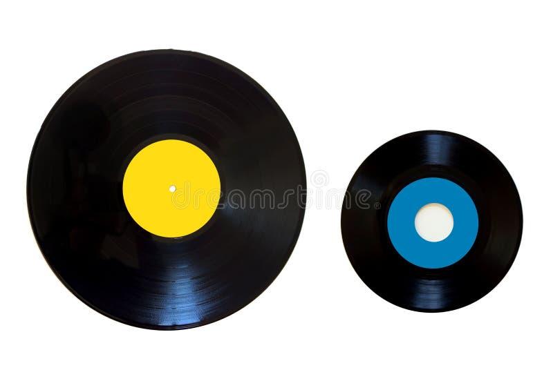Vinyl record on a white background. Old vinyl record on a white background royalty free stock photos