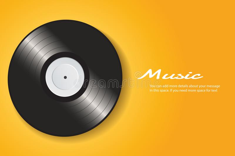 Vinyl record with yellow cover mockup background vector royalty free illustration