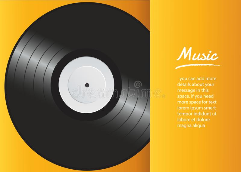 Vinyl record with yellow cover mockup background vector vector illustration