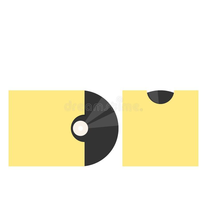 Vinyl record in yellow paper envelope royalty free illustration