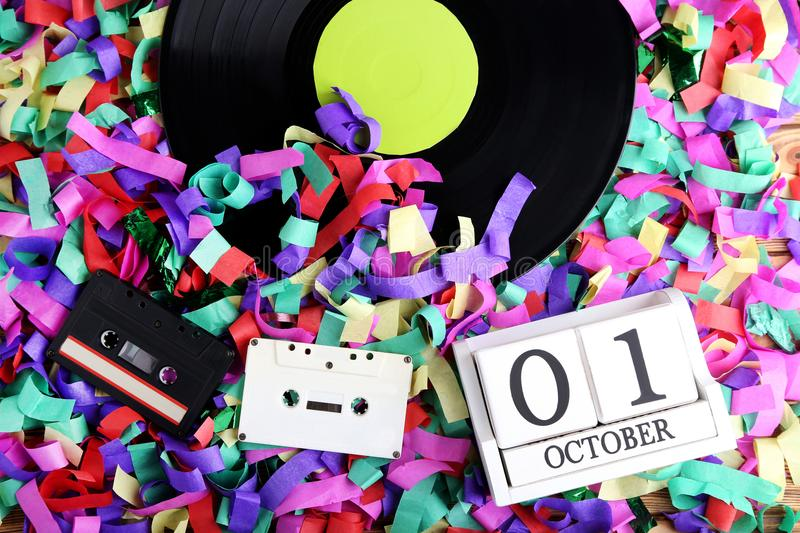 Vinyl records with cassette tapes royalty free stock image