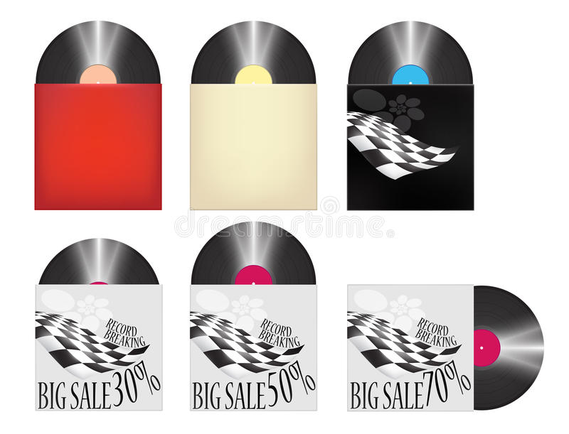 Vinyl Records Cover Big Sale Racing Shop Icons Set stock illustration