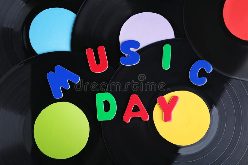 Vinyl records. With inscription Music Day stock images