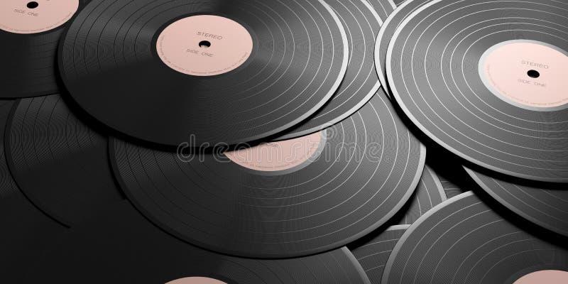 Vinyl records LP with pink label, full background. 3d illustration. Vintage vinyl records albums LP with pink label, full background. 3d illustration vector illustration