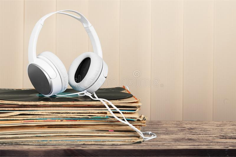 Vinyl records. Player collection stereo music stack disk stock photography