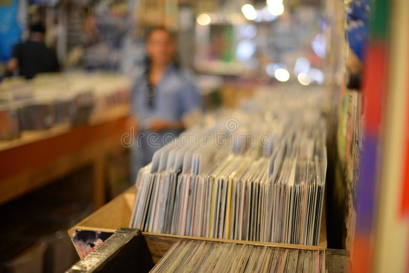 Vinyl records in record store stock image