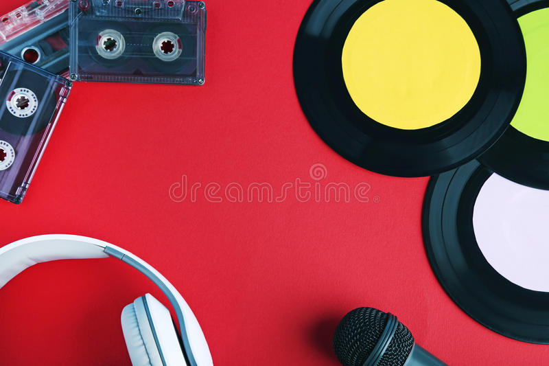 Vinyl records with tapes, microphone stock images