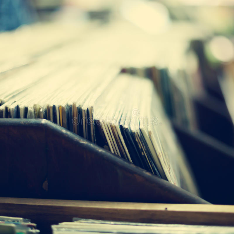 Vinyl Records. Vintage crate of vinyl records stock photo