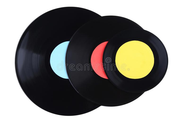 Vinyl records. Isolated on a white royalty free stock photography