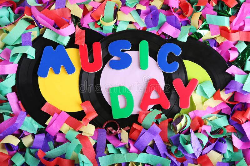 Vinyl records with word Music Day royalty free stock photo