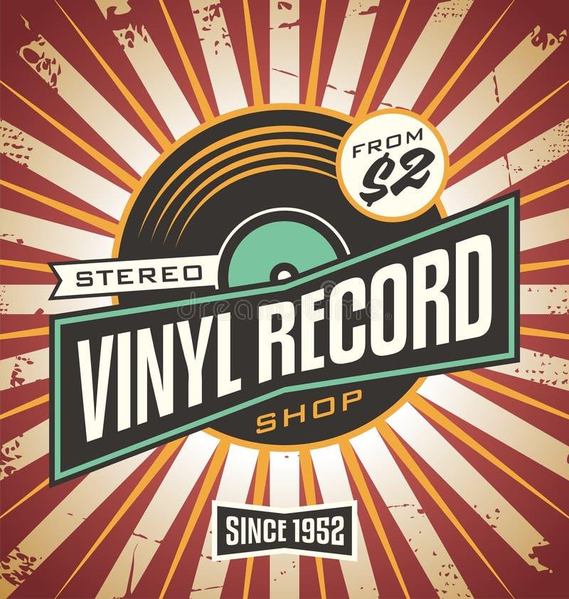 Vinyl retro het tekenontwerp van de verslagwinkel royalty-vrije illustratie