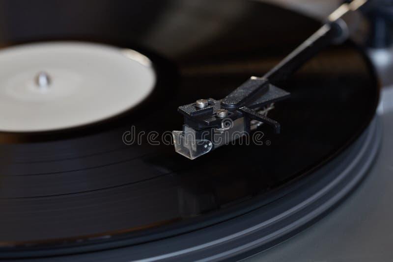 Vinyl speler De roterende schijf Hoofdclose-up royalty-vrije stock afbeeldingen