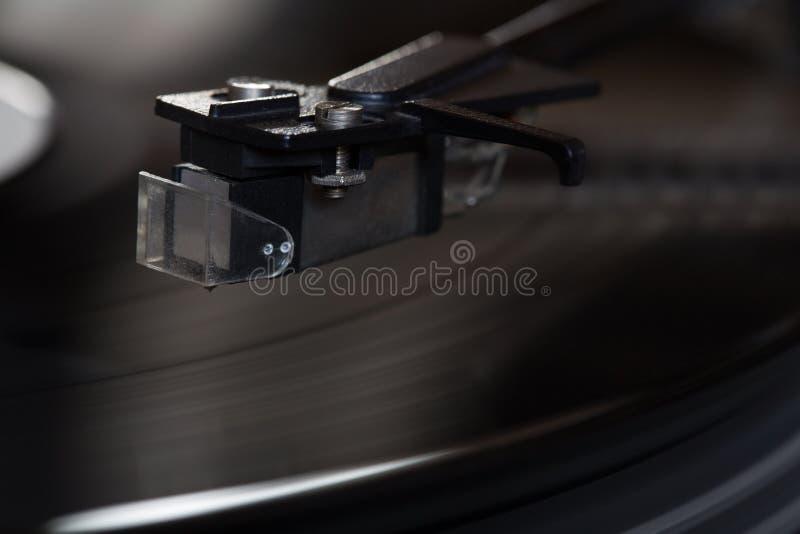 Vinyl speler De roterende schijf Hoofdclose-up royalty-vrije stock foto