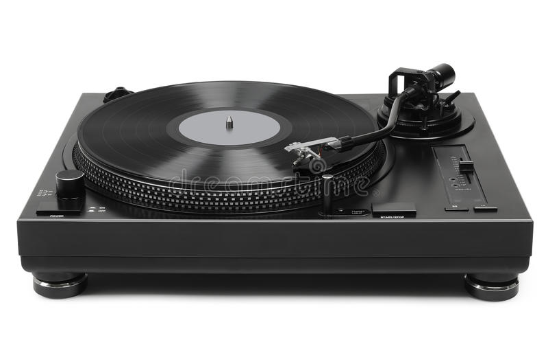 Vinyl speler op witte achtergrond stock afbeelding