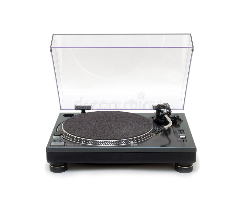 Turntable. Vinyl Turntable isolated over a white background stock photo