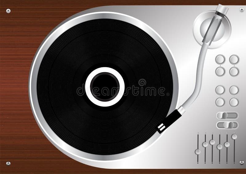 Vinyl uitstekende de stijlvector van de schijfplatenspeler stock illustratie
