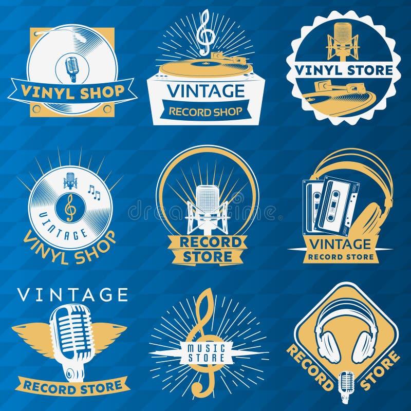 Vinyl Vintage Label Set vector illustration