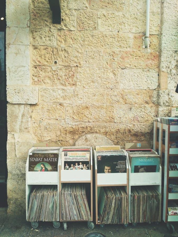 Vinyl. A vinyl shop in the flea market royalty free stock images