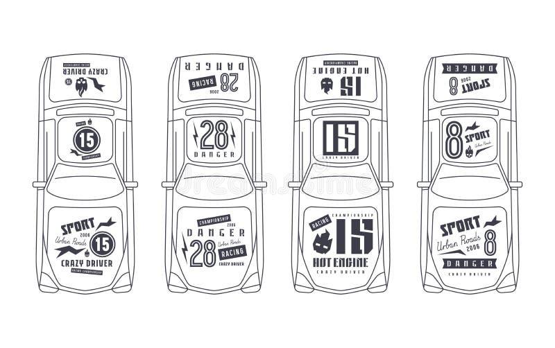 Vinylaufkleber auf Rennwagen stock abbildung