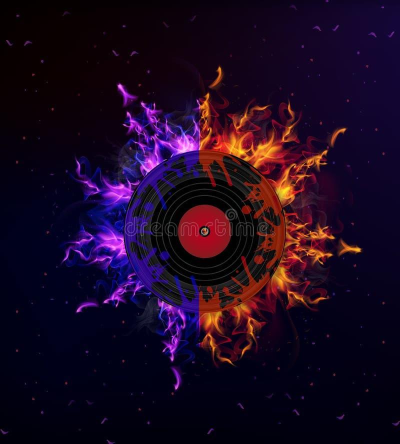 Vinylaufzeichnung im Feuer lizenzfreie abbildung