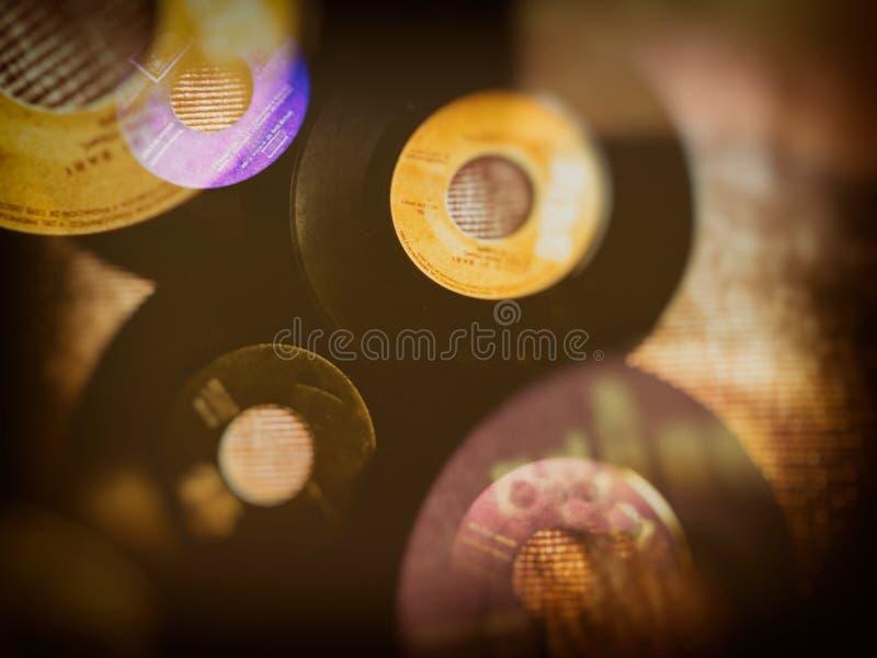 Vinylaufzeichnungen für Weinleseon-line-Dekoration stockbild