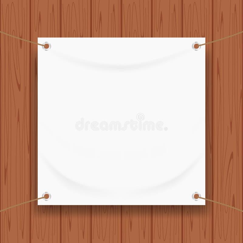 Vinylbanner leeg die wit op vierkant houten kader, witte spot op textielstof leeg voor banner reclametribune het hangen wordt ge? vector illustratie