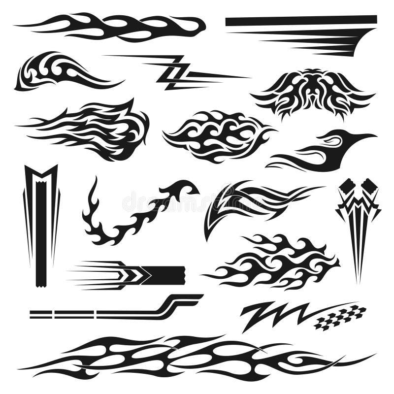 Vinyldekorationsschwarz-Grafiksammlung lizenzfreie abbildung