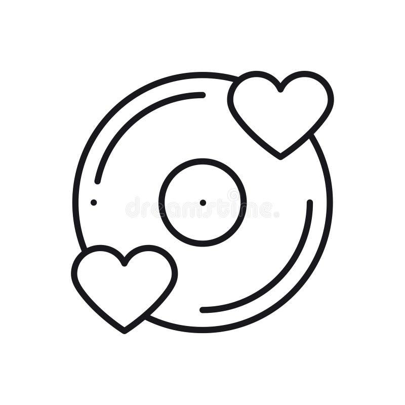 Vinyllinje symbol Favorit- sång Tema för parti för skiva för discjockey för klubba för uteliv för dans för disko för vinylrekord  vektor illustrationer