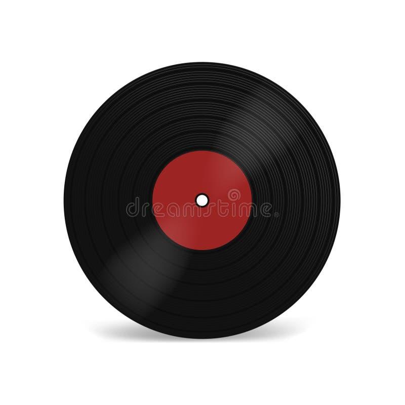 Vinyllp-verslag met rood etiket Zwarte muzikale langspeelalbumschijf 33 t/min Oude technologie, realistisch retro ontwerp, model  royalty-vrije illustratie
