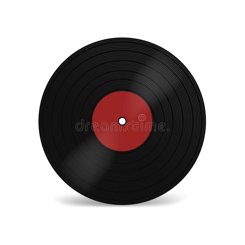VinylLPrekord med den röda etiketten Svart musikalisk albumdiskett 33 r/min. för lång lek Gammal teknologi, realistisk retro desi royaltyfri illustrationer