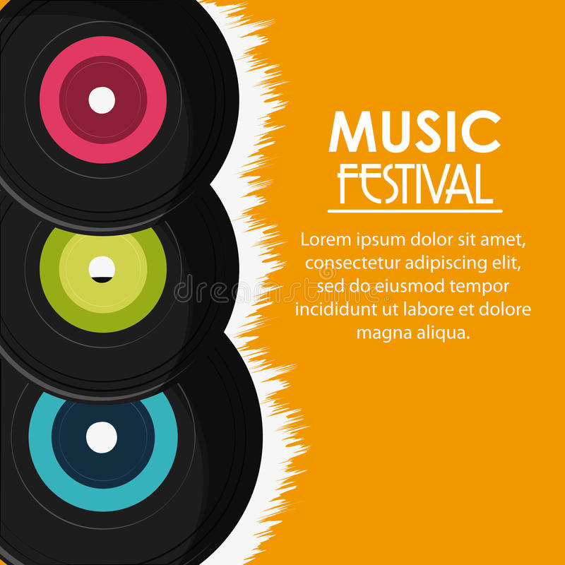 Vinylmuziek correct media festivalpictogram Grafische vector stock illustratie