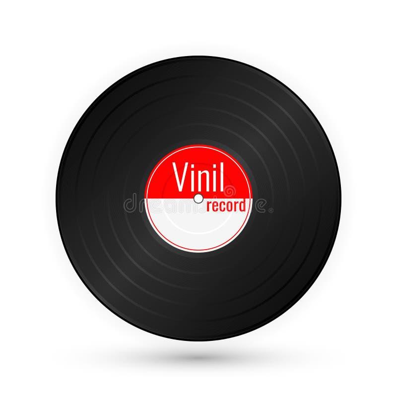 Vinylmuziekverslag uitstekende grammofoonschijf Vector illustratie royalty-vrije illustratie