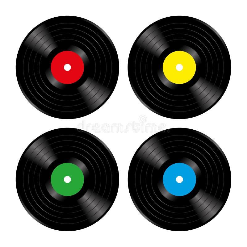 Vinylrekord stock illustrationer
