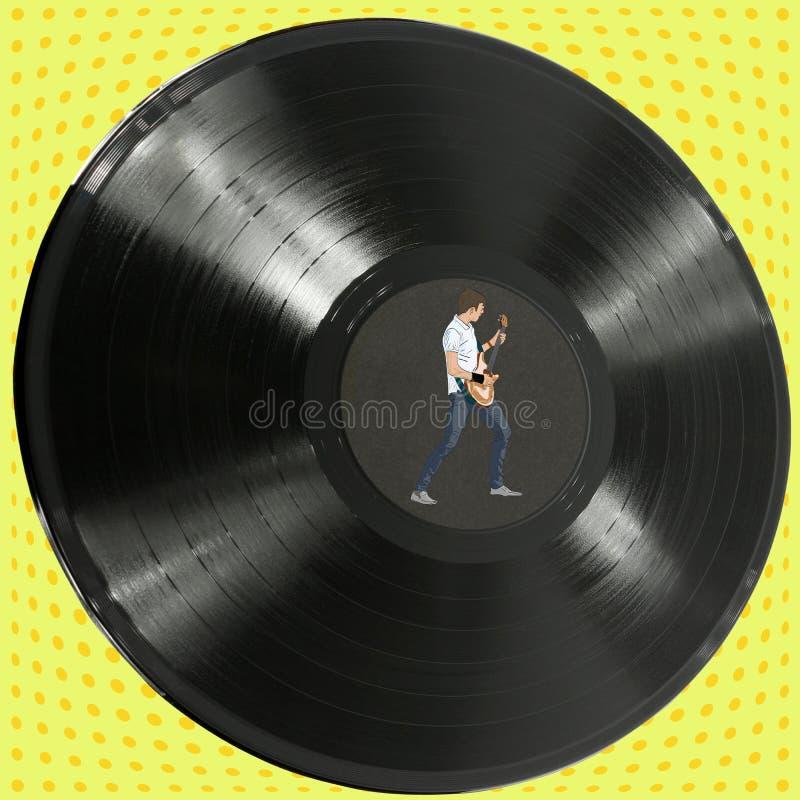Vinylrekord med en gitarrspelare royaltyfri fotografi