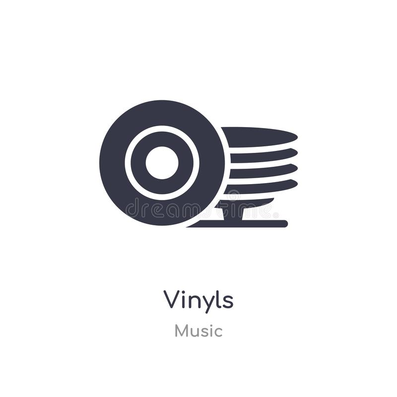 Vinyls outline icon. isolated line vector illustration from music collection. editable thin stroke vinyls icon on white background stock illustration