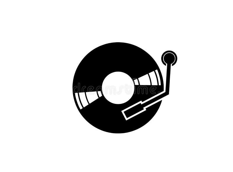 Vinylschijf voor DJ die muziekembleem mengen vector illustratie
