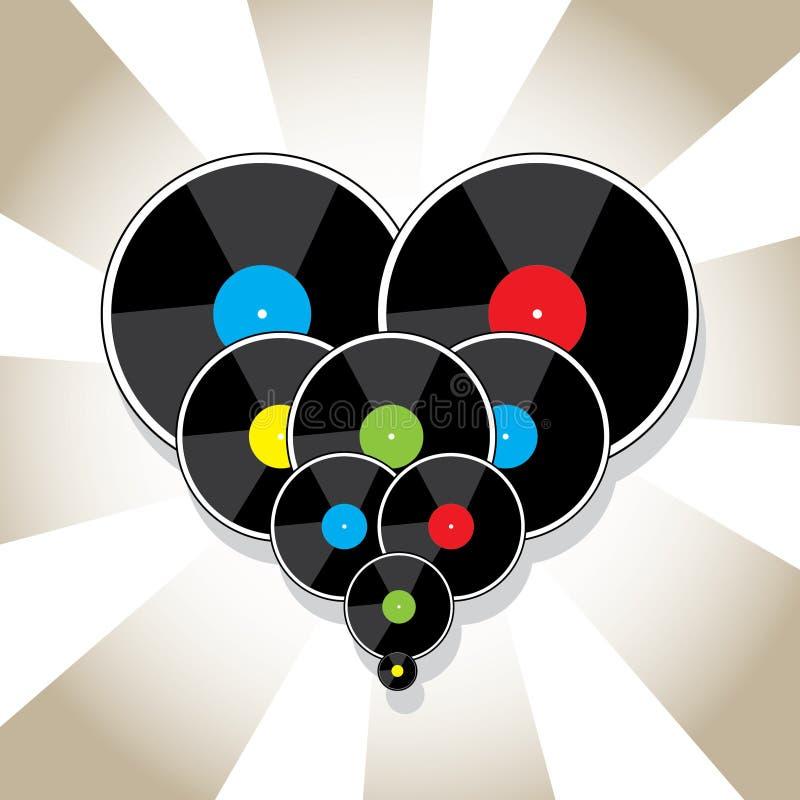 Vinylskivor i hjärtaform vektor illustrationer
