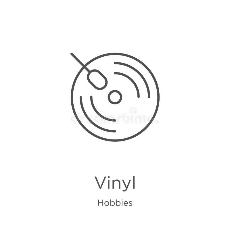 vinylsymbolsvektor från hobbysamling Tunn linje illustration f?r vektor f?r vinyl?versiktssymbol ?versikt tunn linje vinylsymbol  royaltyfri illustrationer