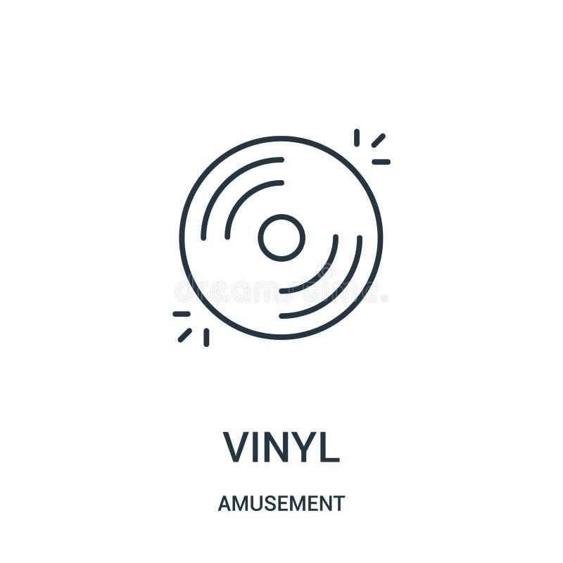 vinylsymbolsvektor från munterhetsamling Tunn linje illustration f?r vektor f?r vinyl?versiktssymbol royaltyfri illustrationer