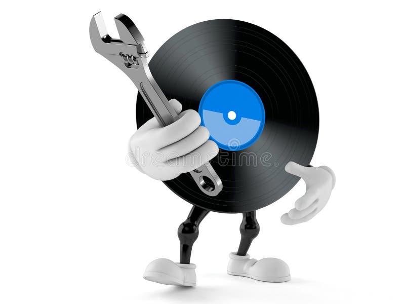 Vinyltecken som rymmer den justerbara skiftnyckeln vektor illustrationer