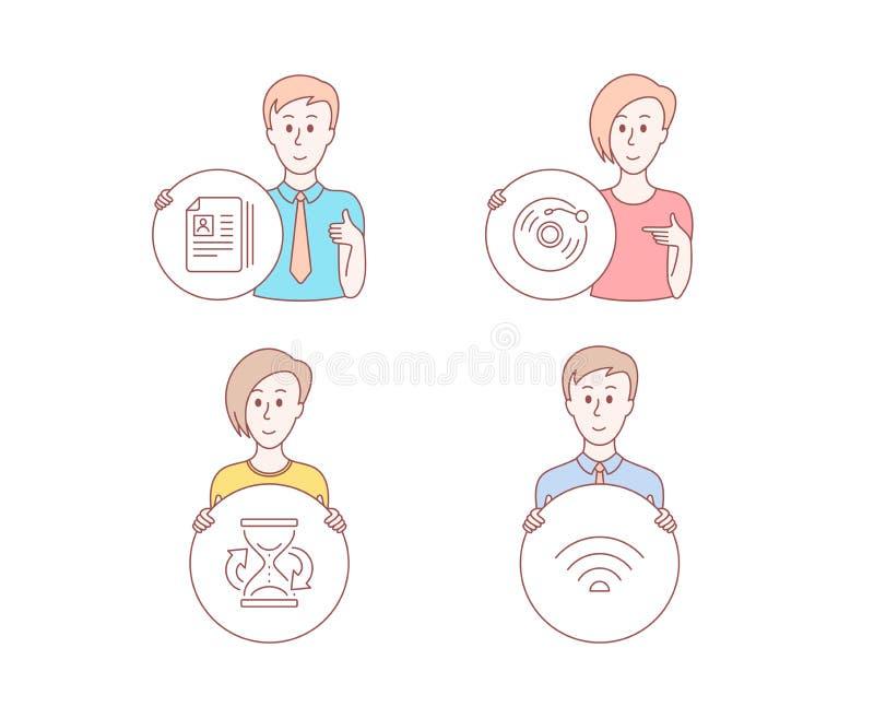 Vinylverslag, Cv-documenten en Zandloperpictogrammen Draadloos Netwerkpictogram Retro muziek, Portefeuilledossiers, Zandhorloge V vector illustratie