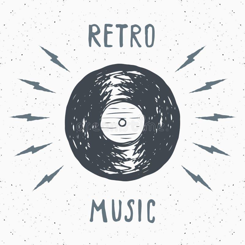 Vinylverslag uitstekend etiket, Hand getrokken schets, grunge geweven retro kenteken, de t-shirtdruk van het typografieontwerp, v vector illustratie